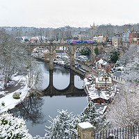 Buy canvas prints of Knaresborough Viaduct in snow by mike morley