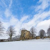 Buy canvas prints of Knaresborough Castle in snow by mike morley