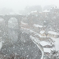 Buy canvas prints of Knaresborough in snow blizzard by mike morley