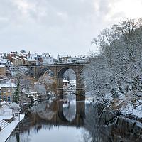 Buy canvas prints of Knaresborough Viaduct in snow by mike morley