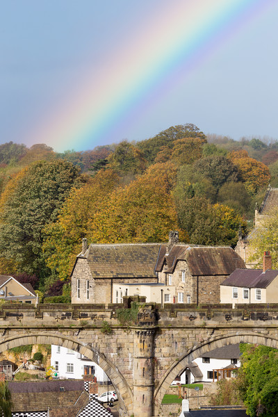 Knaresborough Viaduct with rainbow Canvas print by mike morley