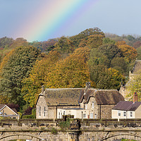 Buy canvas prints of Knaresborough Viaduct with rainbow by mike morley