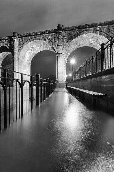 Knaresborough Viaduct at night Canvas print by mike morley