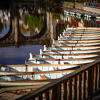 Buy canvas prints of tourist boats at Knaresborough Viaduct North Yorkshire by mike morley