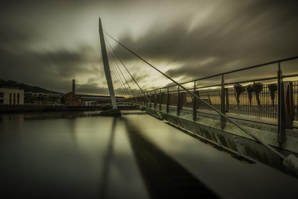 Swansea marina The Sail bridge. Canvas print by Bryn Morgan