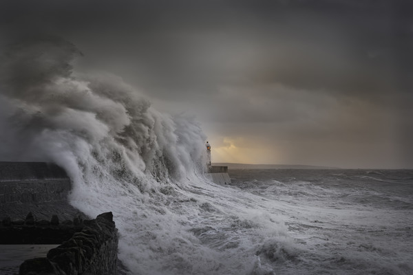 Storm Brian at Porthcawl. Framed Mounted Print by Bryn Morgan