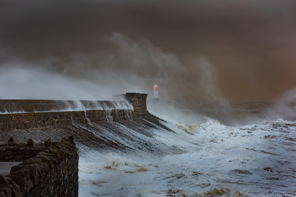 Storm at Porthcawl. Framed Mounted Print by Bryn Morgan