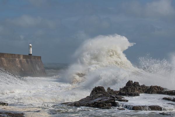 Storm wave at Porthcawl. Framed Mounted Print by Bryn Morgan