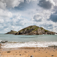 Buy canvas prints of Mumbles lighthouse and small wave by Bryn Morgan