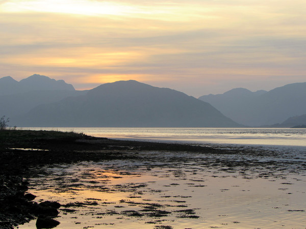 Sunset over the mountains of Ardgour              Canvas print by alan todd
