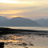 Buy canvas prints of  Sunset over the mountains of Ardgour              by alan todd