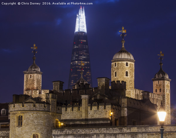Shard and the Tower of London Canvas Print by Chris Dorney
