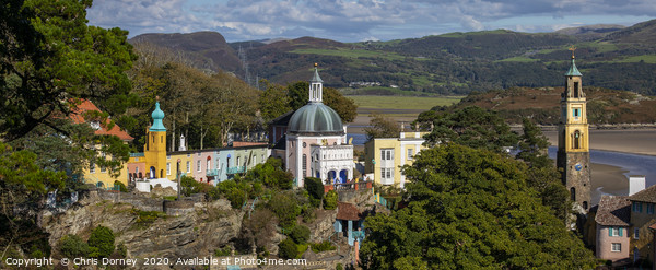 Stunning Panoramic View of Portmeirion in North Wa Canvas Print by Chris Dorney