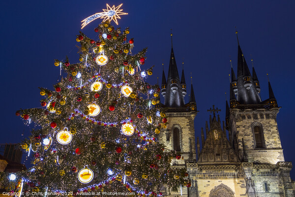Prague at Christmas Print by Chris Dorney
