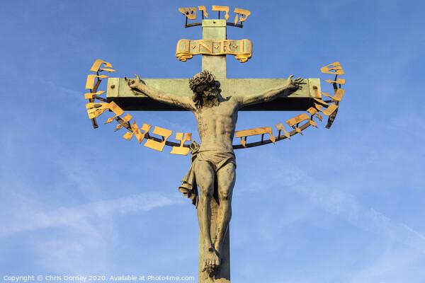 Crucifix on the Chales Bridge in Prague Print by Chris Dorney
