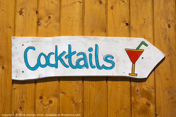 Cocktails Sign Print by Chris Dorney