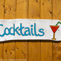 Buy canvas prints of Cocktails Sign by Chris Dorney