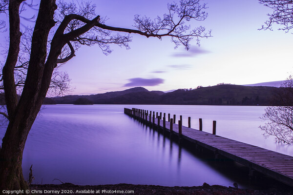 Jetty on Coniston Water in the Lake District Canvas Print by Chris Dorney