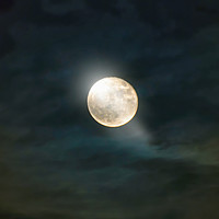 Buy canvas prints of fuzzy night with full moon by Paul Boazu