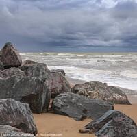 Buy canvas prints of Stormy seas at Happisburgh Norfolk by Graeme Taplin