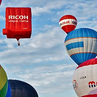Buy canvas prints of  Hot-Air Balloon Stack                             by John Iddles