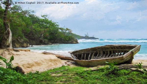 Beach in Port Antonio 1 - Digital Art Framed Mounted Print by Milton Cogheil