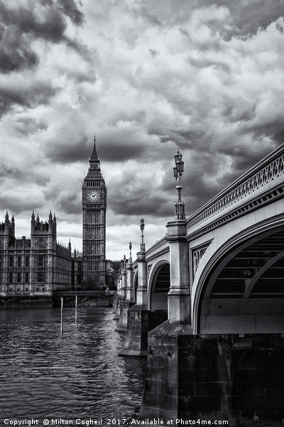 Big Ben and Westminster Bridge, London - B&W Framed Mounted Print by Milton Cogheil