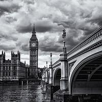 Buy canvas prints of Big Ben and Westminster Bridge, London - B&W by Milton Cogheil