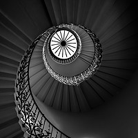 Buy canvas prints of The Tulip Spiral Stairs - Dark by Milton Cogheil