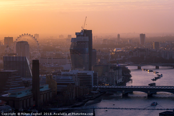 London cityscape at sunset Canvas print by Milton Cogheil