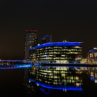 Buy canvas prints of Media City by night by Daniel Udale