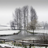 Buy canvas prints of The Mill Pond after the Snowfall - monochrome by john hartley