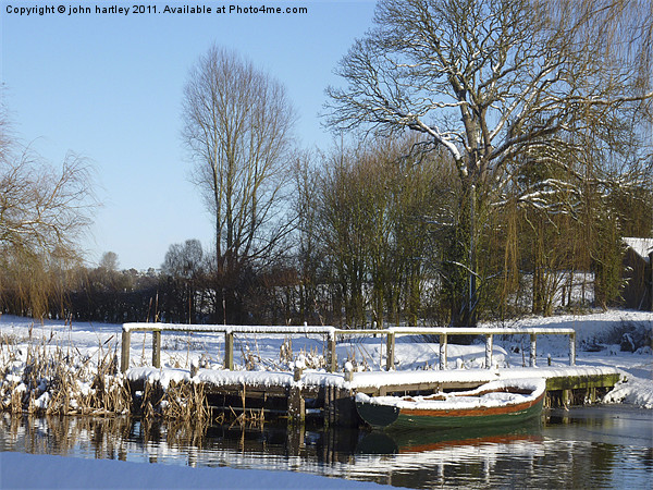 Snow on the Jetty River Wensum Norfolk Framed Mounted Print by john hartley