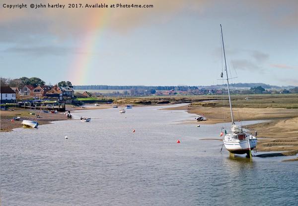 Rainbow over Burnham Overy Staithe North Norfolk Canvas print by john hartley