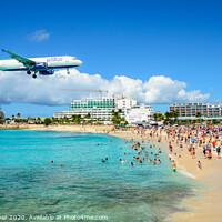 Buy canvas prints of Maho Beach Plane Landing by Sebastien Greber
