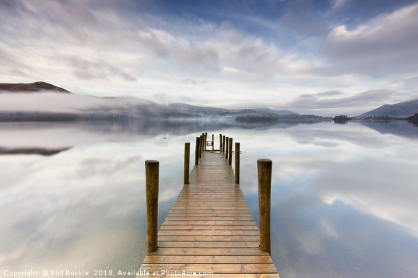 Ashness Jetty Calm and Mist Canvas print by Phil Buckle