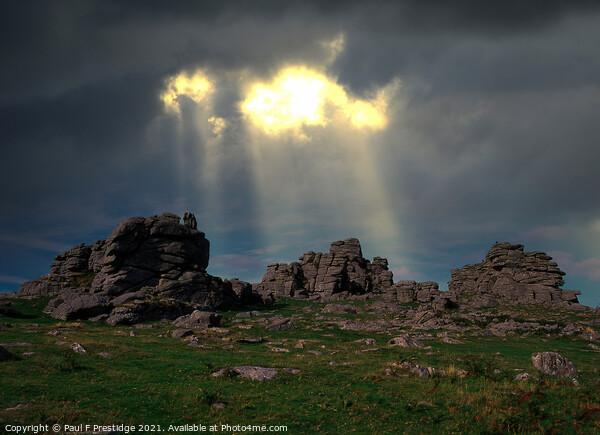 Storm at Hound Tor, Dartmoor, Devon Framed Mounted Print by Paul F Prestidge