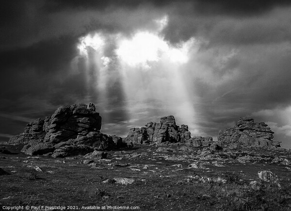 Stoimy Sky at Hound Tor, Dartmoor, Monochrome Framed Mounted Print by Paul F Prestidge