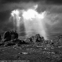 Buy canvas prints of Stoimy Sky at Hound Tor, Dartmoor, Monochrome by Paul F Prestidge