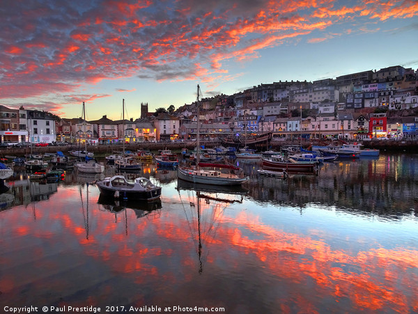 Brixham Harbour Sunset in August                   Canvas print by Paul Prestidge