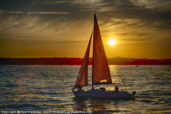 Red Sailed yacht at Sunset Canvas print by Paul Prestidge
