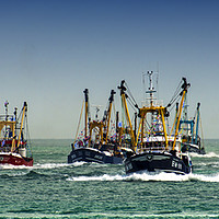 Buy canvas prints of Trawlers Racing to the Finish by