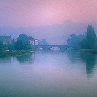 Buy canvas prints of Totnes Bridge in the Mist by Paul Prestidge
