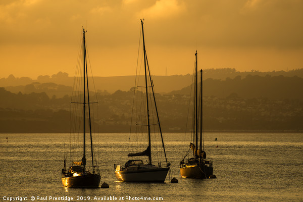 Moored Yachts at Sunset Canvas print by Paul Prestidge