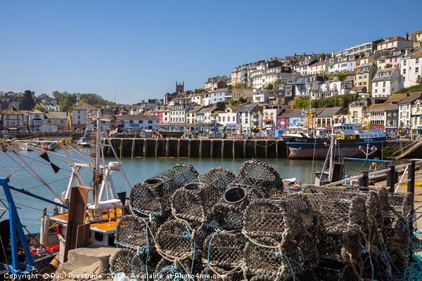 Brixham Harbour with Crab Pots Canvas print by Paul Prestidge