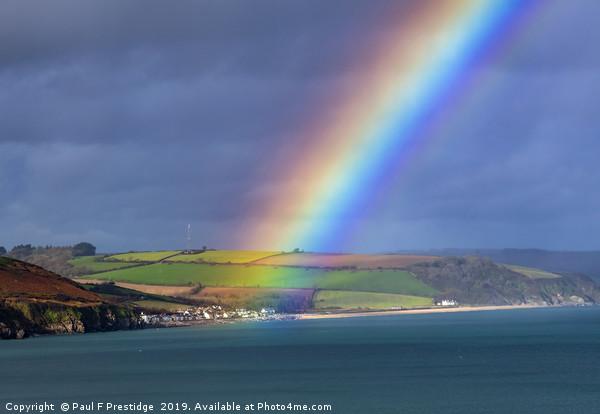 Rainbow over Beesands Canvas print by Paul F Prestidge