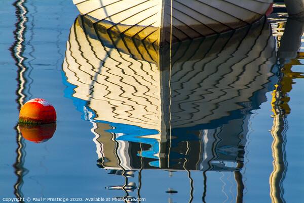 Boat and Buoy Reflection Framed Print by Paul F Prestidge