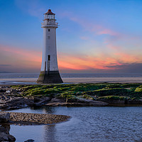 Buy canvas prints of Sunset at Perch Rock Lighthouse by Alan Barr