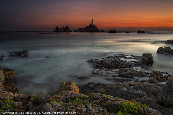 Le Corbiere Lighthouse Island of Jersey Framed Mounted Print by Nick Lukey
