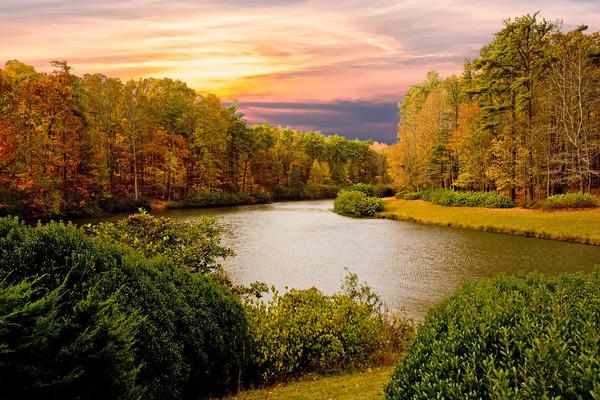 Autumn Lake Framed Mounted Print by Darryl Brooks